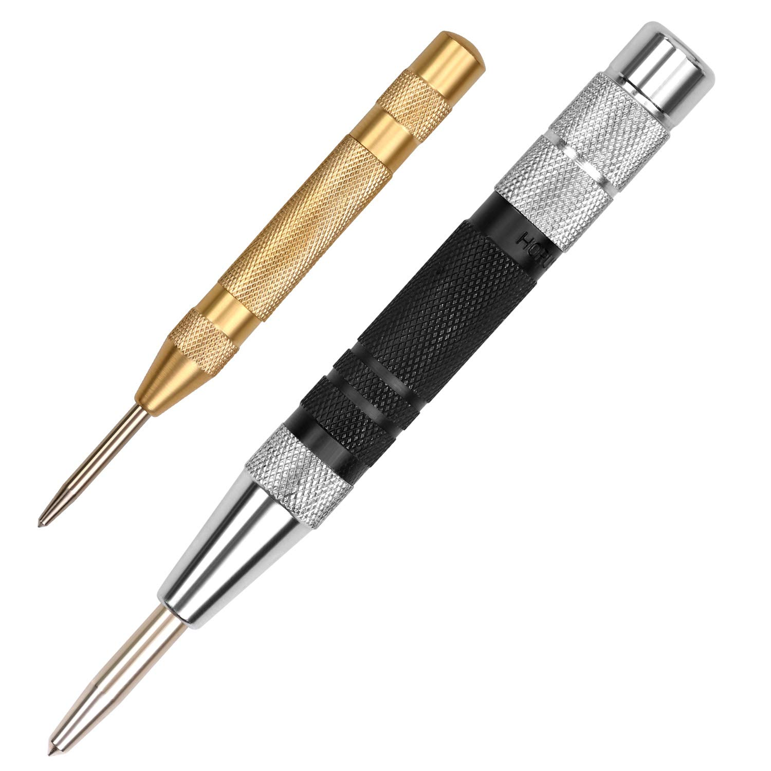 Black Adjustable Spring Loaded Metal Drill Tool 2pcs HORUSDY Super Strong Automatic Centre Punch and General Automatic Center Punch (Yellow)