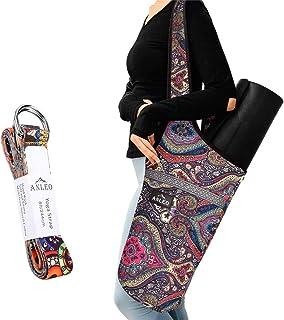 Anleobag Yoga Mat Bag + Yoga Strap Set, Heavy Duty Cotton Shoulder/Cross-Body Yoga Mat Carry Bag with Large Size Outside P...