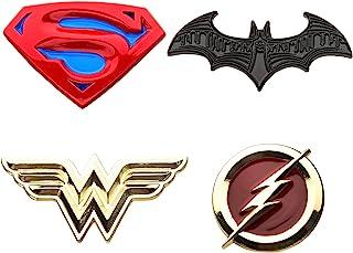 DC Comics Unisex Adult Justice League Superman, Batman, Wonder Woman and The Flash Enamel Lapel Pin Set (4 Piece), Yellow/Red, One Size