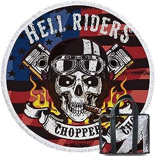 Sleepwish Motorcycle Skull Round Beach Towel for Boys Biker Skull and American Flag Print Summer Beach Mat 60 Inch