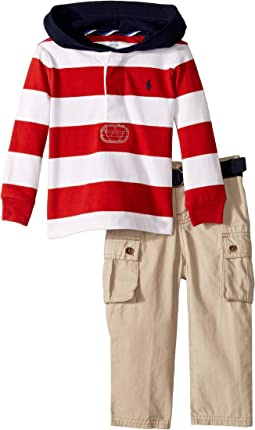 Rugby Hoodie & Belted Pants Set (Infant)
