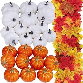 24 Pcs Bulk Assorted Artificial Orange White Pumpkins 250 Pcs Fall Artificial Maple Leaves Fall Wedding Party Table Firepl...