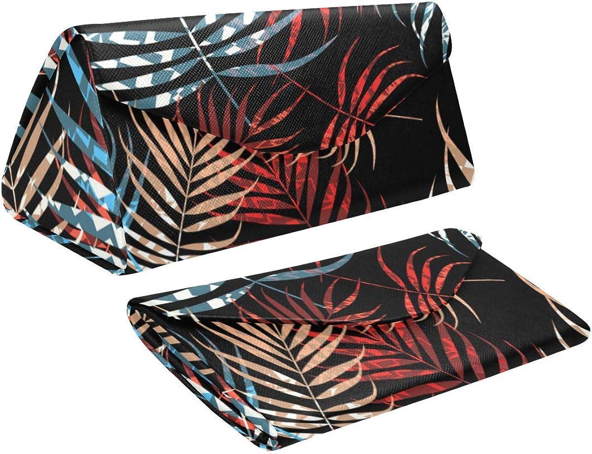 Glasses Case Palm Tree Foliage Eyeglass Case Leather Magnetic Folding Hard Case Sunglasses Eyewear Protective Case