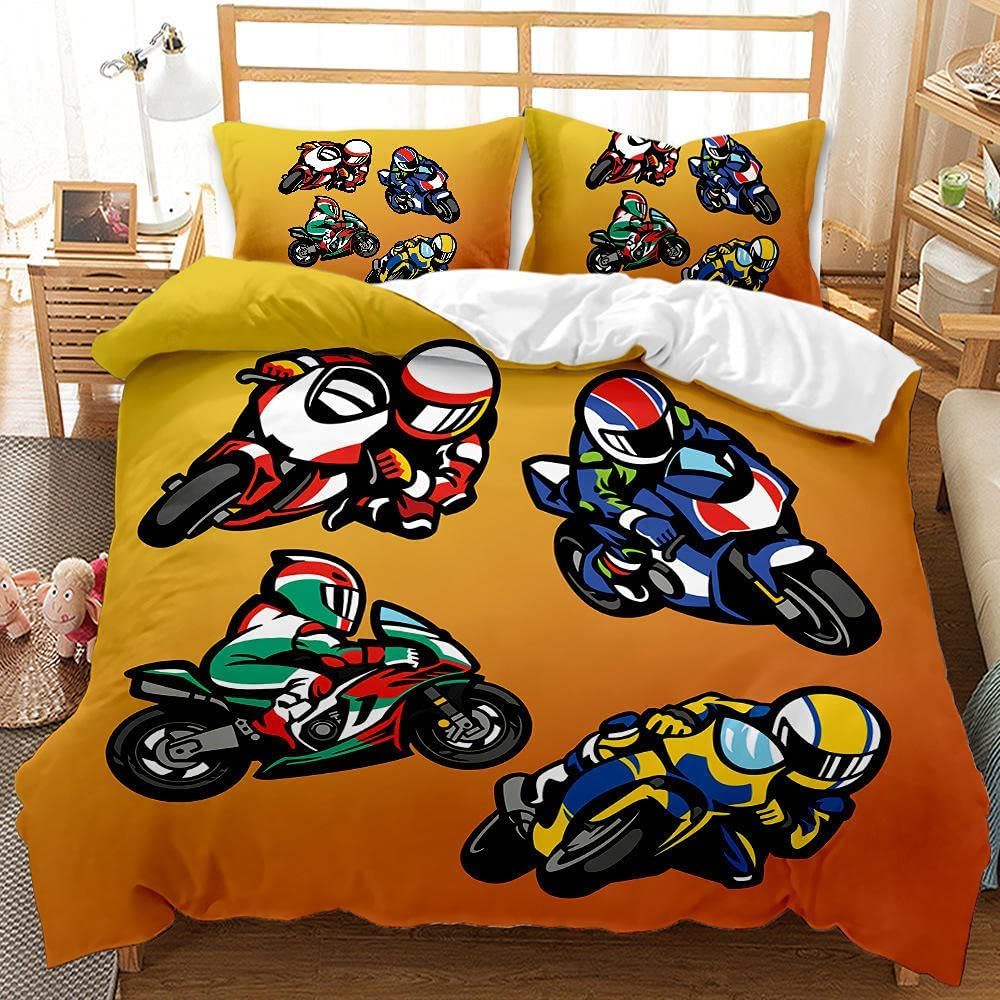 Duvet Cover Full Size Long-awaited Cartoon with Cheap mail order sales Comforter Motorcycle Zi