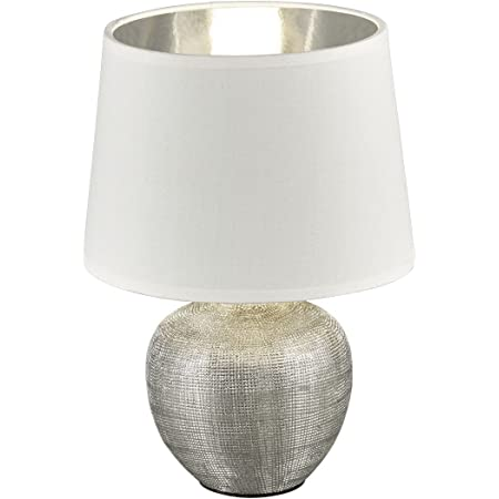 Reality, Lampe de table, Luxor 1xE14, max.40,0 W Tissu, Multicouleur, Corps: Céramique, argent Ø:18,0cm, H:26,0cm IP20,Interrupteur de cordon