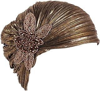 MoreChioce Cappello turbante indiano da donna, stile vintage anni '20, con cristalli, stile retrò, turbante con strass, co...