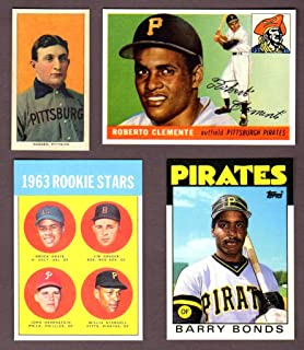 Pittsburgh Pirates Topps Baseball (4) Card Reprint Rookie Lot w/ Original Backs**1909 Honus Wagner T206 Tobacco Rookie Card, 1955 Roberto Clemente Topps Rookie Card, 1963 Willie Stargell Topps Rookie Card, 1986 Barry Bonds Topps Traded Rookie Card**