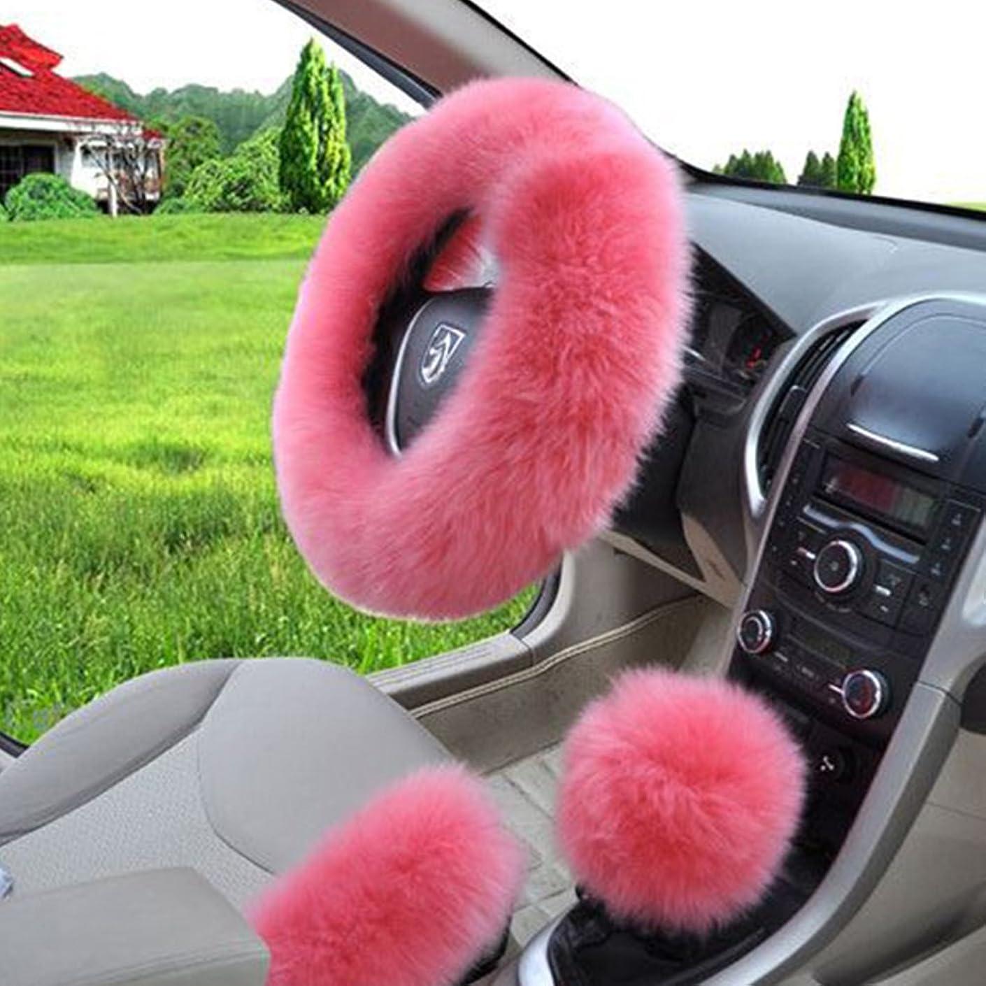W-ShiG Winter Warm Faux Wool Handbrake Cover Gear Shift Cover Steering Wheel Cover 14.96