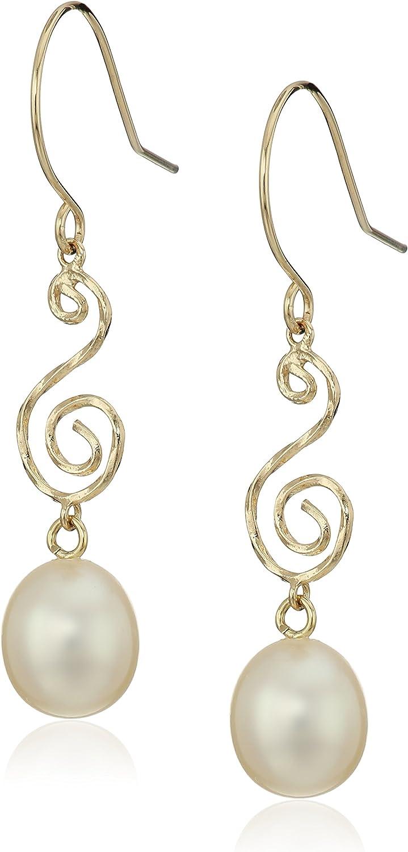 14k Yellow Gold 7-7.5mm Long Shape White Freshwater Cultured Pearl S-Swirl Hoop Dangle Earrings