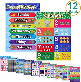 Educational Posters for Preschool Toddlers, Kid Educational Posters for Nursery Homeschool Classroom Learning Alphabet Numbers Shapes Colors Days Prek Laminated Poster Chart Set 12 Pack, English Style