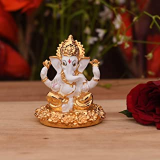 CraftVatika Gold Plated Ganesha Idol Showpiece for Car Dashboard - Hindu Lord Ganesh Ganpati Statue Figurine God of Luck &...