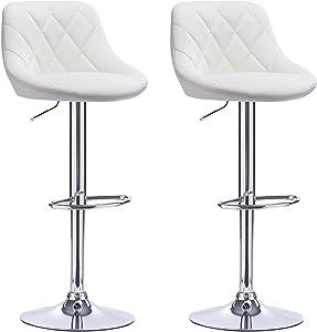WOLTU BH23ws-2 Coppia Sgabelli da Bar Estetica Moderno Sedia Cucina Alta con Schienale Quadrato Poggiapiedi Senza Braccioli Similpelle Cromato Altezza Regolabile Girevole 2 Pezzi Bianco