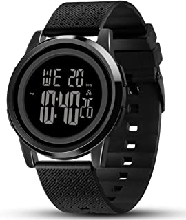 Men's Ultra-Thin Stainless Steel Digital Sports Watch, Multifunctional Chronograph Minimalist Waterproof - Fashion Wrist Watch for Men