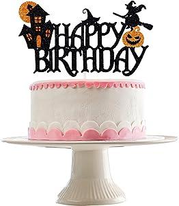 Halloween Happy Birthday Cake Topper Black Glitter- Halloween Birthday Cake Topper, Halloween Birthday Decorations Kids,Halloween Birthday Party Decorations,Kids Halloween Cake Decor