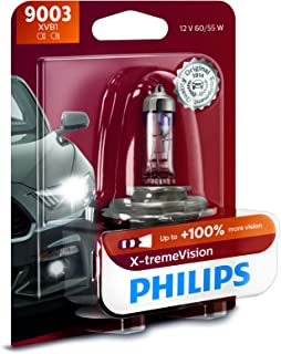 Philips 9003XVB1 9003 X-tremeVision Upgrade Headlight Bulb with up to 100% More Vision, 1 Pack