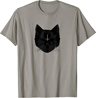 Goth Black Cat Face with Upside Down Cross T-Shirt