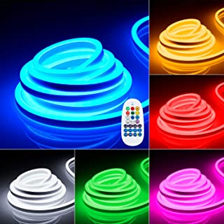 TORCHSTAR 50ft LED RGB Rope Light, 120V Flexible Strip Lights, IP67 Waterproof Neon Lighting, Multi Color Changing with Remote Controller, (100ft Max) Linkable for Indoor & Outdoor Decor