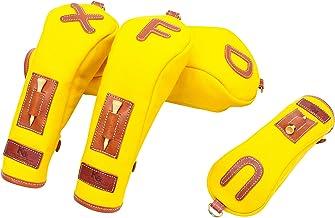 K& HC-TEE-PICT ヘッドカバーセット バケッタレザー (fieno) × 帆布 (ひまわり色) レザー×キャンバス