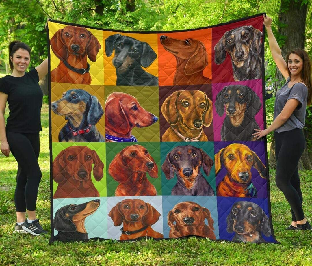 Personalized Dachshund Quilt - Sales The Dog Max 49% OFF Funny Colorful to
