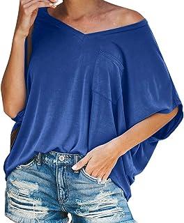 9d5fd5d204e VEMOW Tops Camiseta de Bolsillo de Manga Corta Popular Informal con Cuello  en V para Mujer