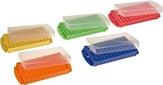 Yellow Pack of 5 Polypropylene Assorted Colors Blue Green Pink 5 Units Interlocking Heathrow Scientific HS29050A CubeTube Rack Orange