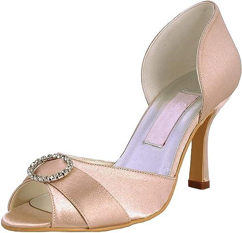 Qiusa Para mujer MZ578 Peep Toe Med Heel Rhinestone Satin Boda Nupcial zapatos Sandalias (Color   Champagne-6.5cm Heel, tamaño   6.5 UK)
