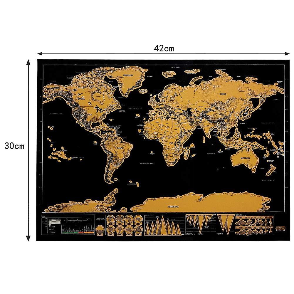 Póster de mapa del mundo para rascar y rascar con mapa del mundo, accesorios para mapa de viaje y embalaje de regalo, hermosos colores 42 * 30cm: Amazon.es: Hogar
