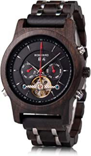 Mens Wooden Mechanical Watches Multifunction Business Luxury Wood Watch for Men