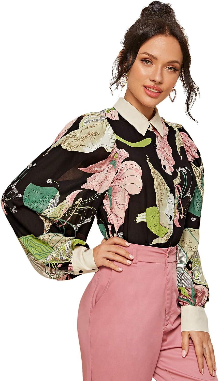 Romwe Women's Elegant Tropical Print Lantern Long Sleeve Button Down Lapel Blouse Tops