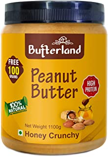 Butterland Peanut Butter 100% Natural and Pure | Honey Crunchy | 1kg+100g free = 1100g | 28% protein | No Added Sugar | Vi...