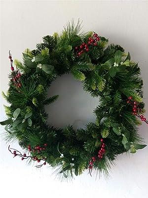 LYFWL Christmas Ornaments Wedding Wreath 24 Inch Christmas Wreath Decoration Christmas Decorations Simulation Wreath Ornaments Christmas Tree Decoration Wreath 60Cm