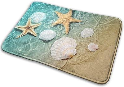 Seashell Beach Starfish Scallop Print Non Slip Bath Mat, Machine Washable Front Door Mat Water Absorbent Small Flannel Bathroom Rug Carpet for Kids(15.8x23.6inch)