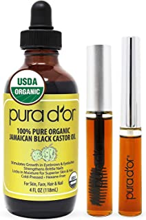 PURA D'OR Organic Jamaican Black Castor Oil (4oz) 100% Pure USDA Organic - Cold Pressed - For Lashes, Brows...