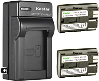 Kastar 2 Pack BP-511 BP-511A Battery and AC Wall Charger Compatible with Canon DM-MV30 MV30 MV30i DM-MV100 MV100i MV100X MV100Xi DM-MV150 MV150 MV150i DM-MV300 MV300 MV300i DM-MV400 MV400 Cameras