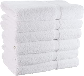 WhiteBasics Cotton Bath Towels for Hotel-Spa-Pool-Gym-Bathroom - Super Soft Absorbent Ringspun Towels- 6 Pack - White - 22x44 Inch