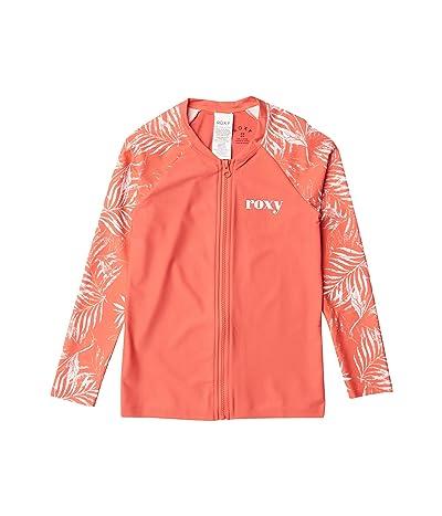 Roxy Kids Your Magic Long Sleeve Zip Rashguard (Big Kids) (Deep Sea Coral Lirely) Girl