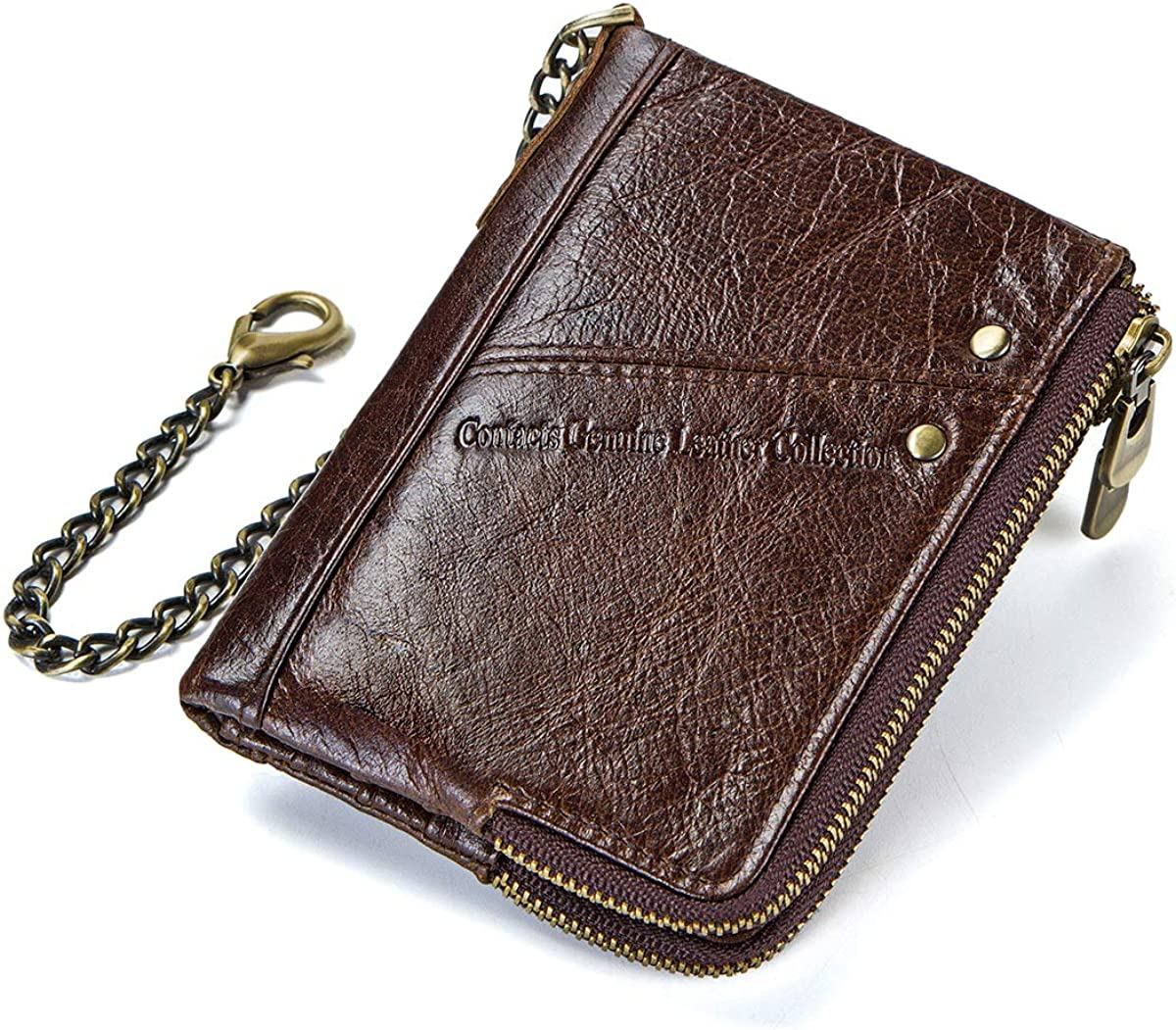 Contacts RFID Mens Genuine Leather Double Zipper Pocket Bifold Coin Wallet with Anti-Theft Chain, Coffee, One Size