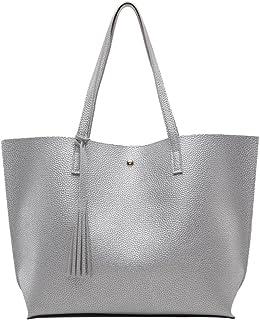 LINNUO Henkeltaschen Damen Tasche Große Schultertaschen Umhängetaschen Shopper Damenhandtaschen mit Quasten (Silber,36 * 1...