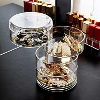 YAH Clear Acrylic 3,4,5Layer Jewelry make up tools Box 360 Degree Rotatable Earrings Necklace Rings Organizer storage case...