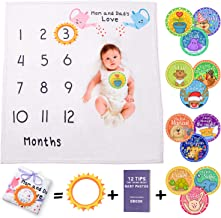 Hippycado Baby Monthly Milestone Blanket for Girl or Boy | Large Month Blanket for Newborn Pictures with Photo Props | Soft Fleece Photography Background Bonus Stickers Frame Ebook