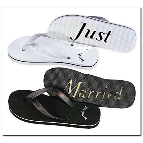 6439a2335 Just Married Flip Flops Black White 8 Woman s and 11 Men s Black