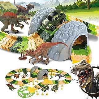 Dina Park Dinosaur Race Car Tracks Toys, 150 PCS Flexible Track Train Play Sets with 4 Dino Figures, 2 Car, Create a Dinosaur Track Park Toys for 3 4 5 6 Year Birthday Gift (184 PCS Play Set)