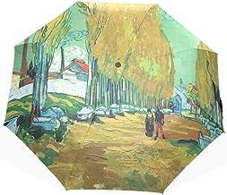 3 Sombrillas Plegables Protección Solar Anti UV Suna y Paraguas de Lluvia Van Gogh Les Alyscamps Patrón A Prueba de Viento Probado Paraguas de Viaje Ultra Delgado Compacto
