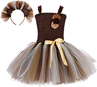 Tutu Dreams Lion Costume for Girls 1-12Y with Headband Birthday Halloween Party