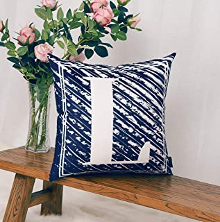 YINNAZI Throw Pillow Cover,18 x 18 Inch English Alphabet Pillow Case Navy Blue Square Cushion Covers for Sofa Courtyard Party Car Office Decorative (L-Navy Blue)