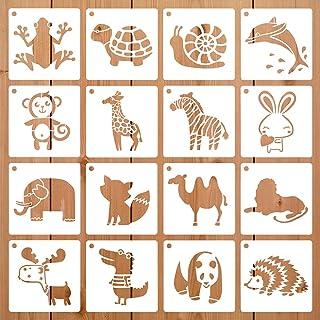 16 Pièces Plastique Modèle de Peinture Animaux Créatif, Pochoirs en Plastique pour Enfants, Pochoir Animaux pour Enfants, ...