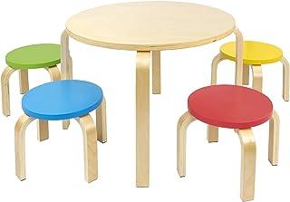 comprar comparacion Leomark Mesa Redonda de Madera para niños de 4 y sillas de Colores, Mesas y sillas Infantiles de Madera, Juego de Muebles ...