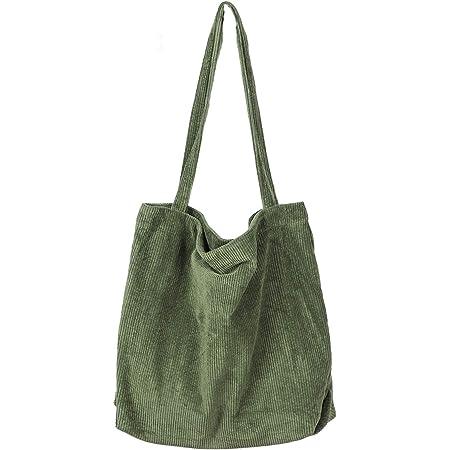 Etercycle Umhängetasche Damen Grosse Kapazität Cord Schultertasche Retro Handtasche für Alltag, Büro, Schulausflug und Einkauf - Armeegrün