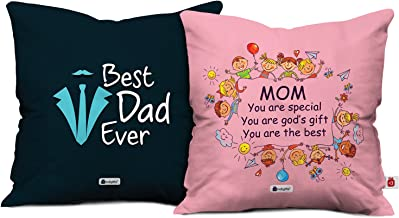 Indigifts Mom Dad Mom Special God's Gift & Best Dad Ever Multi Cushion Cover 12x12 inch with Filler Set of 2 - Gift for Mother's Day, Mom-Mumma-Dad-Papa-Parents-Birthday, Anniversary