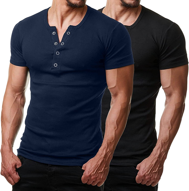 COOFANDY Men's Muscle Henley Shirts 2 Workout Popular popular Ranking TOP3 Sleeve Short Pack